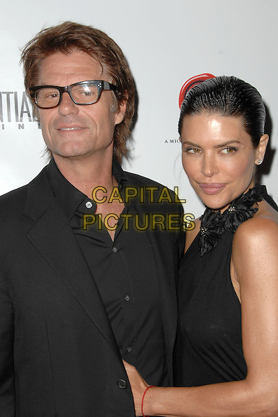 HARRY HAMLIN & LISA RINNA.Los Angeles Confidential Magazine May/June Issue Party held At XIV Restaurant, West Hollywood, California, USA..April 30th, 2009.half length married husband wife black glasses .CAP/ADM/KB.©Kevan Brooks/AdMedia/Capital Pictures.