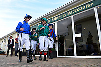 Jim Crowley left and Andrea Atzeni lead the jockeys out for the fifth race during Afternoon Racing at Salisbury Racecourse on 4th October 2017