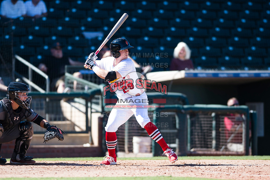 Surprise Saguaros second baseman Andy Young (29), of the St. Louis Cardinals organization, at bat in front of catcher Daulton Varsho (8) during an Arizona Fall League game against the Salt River Rafters on October 9, 2018 at Surprise Stadium in Surprise, Arizona. Salt River defeated Surprise 10-8. (Zachary Lucy/Four Seam Images)