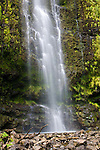 The hike through the Oheo Gulch (Seven Sacred Pools) along the Pipiwai Streams culminates at the 400 foot Waimoku Falls in Hana, Maui in Haleakala National Park