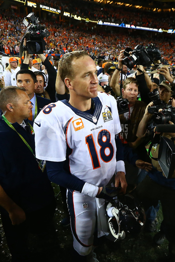 Feb 7, 2016; Santa Clara, CA, USA; Denver Broncos quarterback Peyton Manning (18) after defeating the Carolina Panthers in Super Bowl 50 at Levi's Stadium. Mandatory Credit: Mark J. Rebilas-USA TODAY Sports