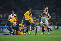 Will Genia of Australia has his kick charged down by Joe Launchbury of England during Match 26 of the Rugby World Cup 2015 between England and Australia - 03/10/2015 - Twickenham Stadium, London<br /> Mandatory Credit: Rob Munro/Stewart Communications