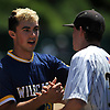 Brian Morrell #23, Shoreham-Wading River pitcher, shakes hands with Wantagh players after the Class A baseball Long Island Championship at SUNY Old Westbury on Saturday, June 3, 2017.