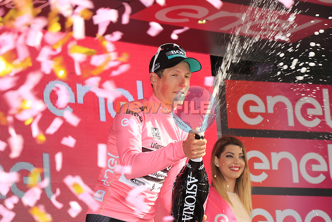 Lukas Postlberger (AUT) Bora-Hansgrohe wins Stage 1 and wears the 1st race leader's Maglia Rosa of the 100th edition of the Giro d'Italia 2017, running 206km from Alghero to Olbia, Sardinia, Italy. 4th May 2017.<br /> Picture: Eoin Clarke | Cyclefile<br /> <br /> <br /> All photos usage must carry mandatory copyright credit (&copy; Cyclefile | Eoin Clarke)<br /> <br /> All photos usage must carry mandatory copyright credit (&copy; Cyclefile | LaPresse)