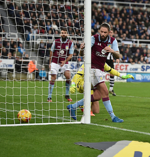February 20th 2017, St James Park, Newcastle, England; Skybet Championship football, Newcastle versus Aston Villa; Henri Lansbury of Aston Villa scores an own goal in the 59th minute