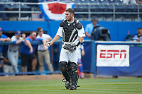 Wake Forest Demon Deacons catcher Ben Breazeale (39) on defense against the Florida Gators in the completion of Game Two of the Gainesville Super Regional of the 2017 College World Series at Alfred McKethan Stadium at Perry Field on June 12, 2017 in Gainesville, Florida. The Demon Deacons walked off the Gators 8-6 in 11 innings. (Brian Westerholt/Four Seam Images)