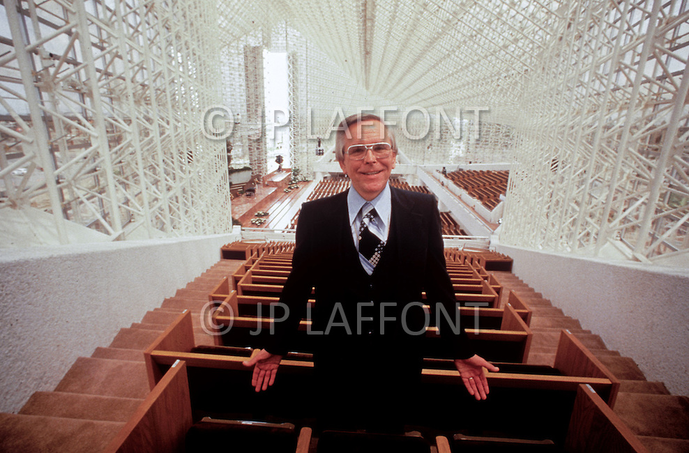 July, 1984, city of Garden Grove, Orange County, California, United States. The founder of Crystal Cathedral (Reformed Church in America) , Robert H. Schuller.