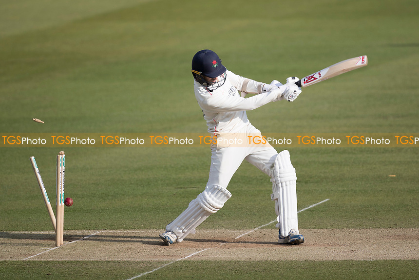Graham Onions of Lancashire CCC innings is brought to an end by James Harris during Middlesex CCC vs Lancashire CCC, Specsavers County Championship Division 2 Cricket at Lord's Cricket Ground on 13th April 2019