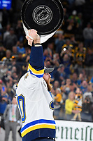 June 12, 2019: St. Louis Blues center Ryan O'Reilly (90) hoists the Stanley Cup at game 7 of the NHL Stanley Cup Finals between the St Louis Blues and the Boston Bruins held at TD Garden, in Boston, Mass.  The Saint Louis Blues defeat the Boston Bruins 4-1 in game 7 to win the 2019 Stanley Cup Championship.  Eric Canha/CSM.