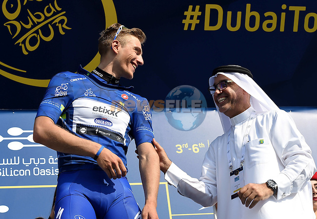 Marcel Kittel (GER) Etixx Quick Step wins Stage 1, the Dubai Silicon Oasis Stage, of the 2016 Dubai Tour starting at the Dubai International Marine Club and running 175km to Fujairah, Dubai, United Arab Emirates. 3rd February 2016.<br /> Picture: ANSA/Daniel Del Zannaro | Newsfile<br /> <br /> <br /> All photos usage must carry mandatory copyright credit (&copy; Newsfile | ANSA/Daniel Del Zannaro)