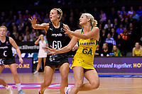 Diamonds&rsquo; Gretel Tippett and Silver Ferns&rsquo; Katrina Grant in action during the International Netball Constellation Cup - NZ Silver Fans v Australia Diamonds at TSB Bank Arena, Wellington, New Zealand on Thursday 18 October  2018. <br /> Photo by Masanori Udagawa. <br /> www.photowellington.photoshelter.com