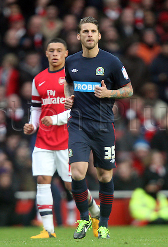 16.02.2013. London, England. David Bentley of Blackburn Rovers (on loan from Tottenham Hotspur) during The FA Cup Fifth Round game between Arsenal and Blackburn Rovers from Emirates Stadium...
