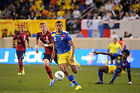 Eduardo Morante (2) of Ecuador is chased by Brek Shea (11) of the United States. The men's national team of the United States (USA) was defeated by Ecuador (ECU) 1-0 during an international friendly at Red Bull Arena in Harrison, NJ, on October 11, 2011.