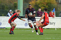 Tjiuee Uanivi of London Scottish during the Greene King IPA Championship match between London Scottish Football Club and Hartpury RFC at Richmond Athletic Ground, Richmond, United Kingdom on 28 October 2017. Photo by David Horn.