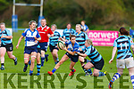 Tralee's Riona Kennedy take a tackle from Shannon's Breda Doheny in the Ladies Munster league in O'Dowd Park on Sunday.