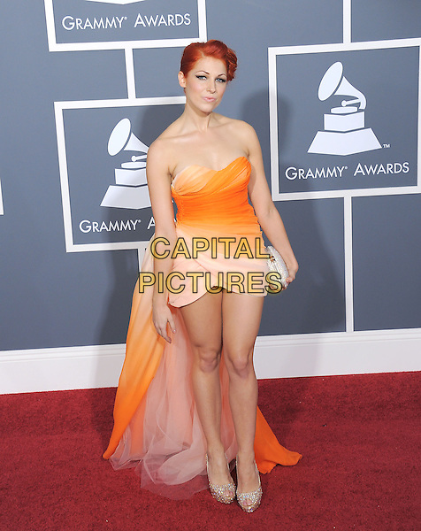 BONNIE McKEE.The 53rd Annual GRAMMY Awards held at The Staples Center in Los Angeles, California on .February 13th, 2011.grammys full length white orange yellow strapless dress train ombre.CAP/RKE/DVS.©DVS/RockinExposures/Capital Pictures.