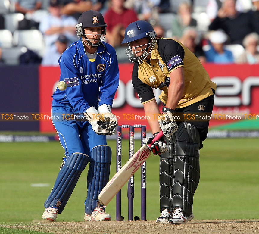 Darren Gough of Yorkshire batting against his former club with Essex wicket keeper James Foster in close attention - Essex Eagles vs Yorkshire Carnegie - Natwest Pro-40 at The Ford County Ground, Chelmsford 16/07/08 - MANDATORY CREDIT: Rob Newell/TGSPHOTO - IMAGES USED WILL BE INVOICED AT STANDARD RATES. Gavin Ellis/TGSPHOTO, 27 Plaiters Way, Braintree, Essex CM7 3LR - Tel: 0845 0946026 - BACS details for payment: Gavin Ellis - A/C 31840312 Sort Code 40-17-08. NO UNPAID USE..
