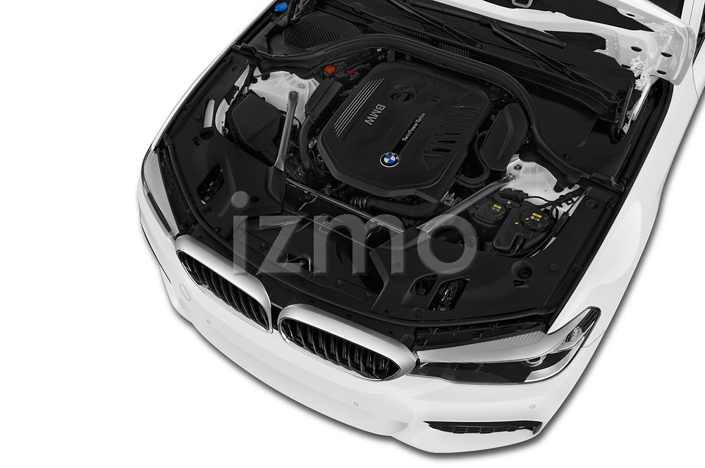 Car Stock 2019 BMW 5-Series M-Sport 4 Door Sedan Engine  high angle detail view
