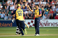 Ravi Bopara of Essex celebrates with his team mates after taking the wicket of James Hildreth during Essex Eagles vs Somerset, Vitality Blast T20 Cricket at The Cloudfm County Ground on 7th August 2019