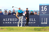 Bernd Wiesberger (AUT) and Rafa Cabrera Bello (ESP) on the 16th tee during Round 3 of the Alfred Dunhill Links Championship 2019 at St. Andrews Golf CLub, Fife, Scotland. 28/09/2019.<br /> Picture Thos Caffrey / Golffile.ie<br /> <br /> All photo usage must carry mandatory copyright credit (© Golffile | Thos Caffrey)