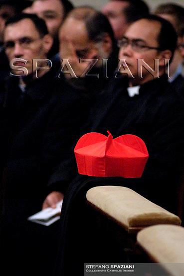 Biretta cardinal.,Pope Benedict XVI  celebrates the Vespers and Te Deum prayers in Saint Peter's Basilica at the Vatican on December 31, 2007