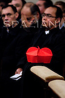 Biretta cardinal.,Pope Benedict XVI  celebrates the Vespers and Te Deum prayers in Saint Peter's Basilica at the Vatican on December 31, 2007