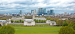 View of Canary Wharf in the background with the Old Royal Naval College in the middle ground, and National Maritime Museum and Greenwich Park in foreground...(c) Malcolm McCurrach   New Wave Images UK