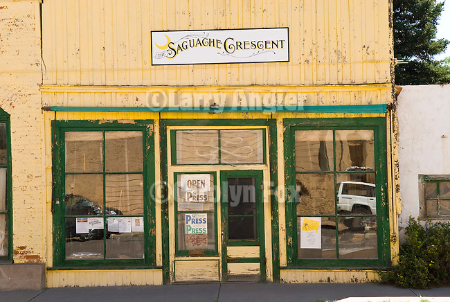 Façade and entrance to the Saguache Crescent newspaper, last of the hot-metail newspapers in the U.S.