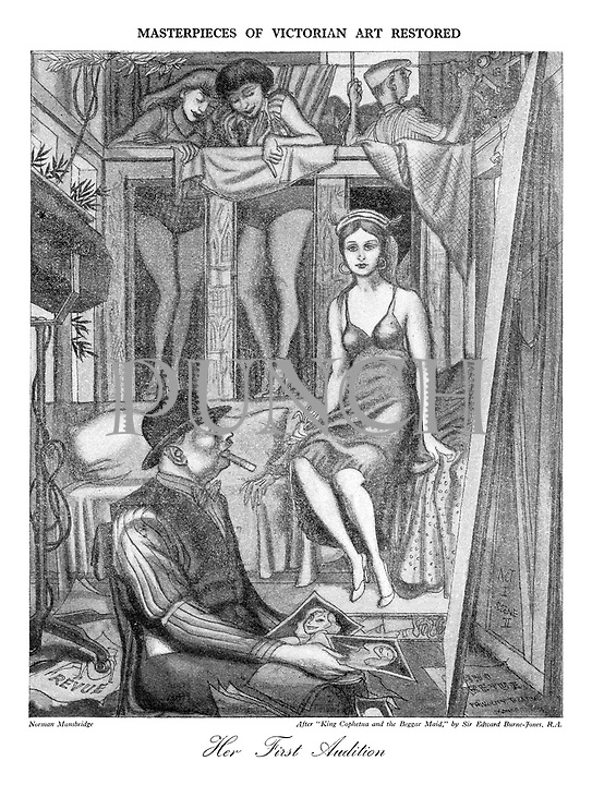 """Masterpieces of Victorian Art Restored: Her First Audition. After """"King Cophetua and the Beggar Maid"""" by Sir Edward Burne-Jones RA"""