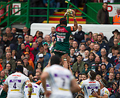 30th September 2017, Welford Road, Leicester, England; Aviva Premiership rugby, Leicester Tigers versus Exeter Chiefs;  Sione Kalamafoni takes the line-out ball for the Tigers