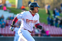 Wisconsin Timber Rattlers outfielder Leugim Castillo (27) runs to first base during a Midwest League game against the Burlington Bees on April 26, 2019 at Fox Cities Stadium in Appleton, Wisconsin. Wisconsin defeated Burlington 2-0. (Brad Krause/Four Seam Images)