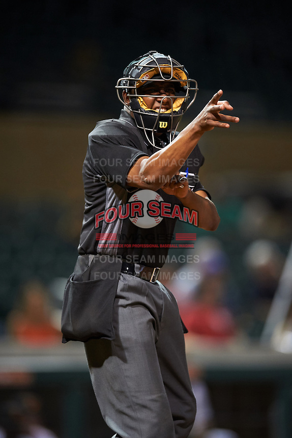 Umpire Ramon De Jesus during an Arizona Fall League game between the Surprise Saguaros and Salt River Rafters on October 21, 2016 at Salt River Fields at Talking Stick in Scottsdale, Arizona.  Salt River defeated Surprise 3-2.  (Mike Janes/Four Seam Images)