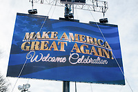 A screen displays the Make America Great Again! Welcome Celebration honoring soon-to-be president Donald Trump at the Lincoln Memorial in  Washington, D.C., on Thurs., Jan. 19, 2017, the day before the presidential inauguration of Donald Trump. The event had musical performances, speeches, and an appearance by Trump and his family.