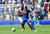 Cardiff City's Joe Bennett battles with Aston Villa's Ahmed Elmohamady <br /> <br /> Photographer Ian Cook/CameraSport<br /> <br /> The EFL Sky Bet Championship - Cardiff City v Aston Villa - Saturday August 12th 2017 - Cardiff City Stadium - Cardiff<br /> <br /> World Copyright &copy; 2017 CameraSport. All rights reserved. 43 Linden Ave. Countesthorpe. Leicester. England. LE8 5PG - Tel: +44 (0) 116 277 4147 - admin@camerasport.com - www.camerasport.com