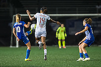 Allston, MA - Wednesday Sept. 07, 2016: Louise Schillgard, Jessica McDonald during a regular season National Women's Soccer League (NWSL) match between the Boston Breakers and the Western New York Flash at Jordan Field.
