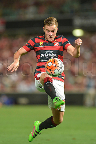 26.02.2016. Pirtek Stadium, Parramatta, Australia. Hyundai A-League. Western Sydney Wanderers versus Perth Glory. Wanderers defender Scott Jamieson in action. The Wanderers won 2-1.