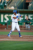 Samuel Ortiz (38) of the Ogden Raptors bats against the Great Falls Voyagers at Lindquist Field on August 16, 2017 in Ogden, Utah. The Voyagers defeated the Raptors 11-6. (Stephen Smith/Four Seam Images)