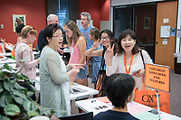 Academic Department Information Fair in the Academic Commons. Incoming first-years and their families are welcomed by O-Team members and the community at the start of Occidental College's Fall Orientation for the class of 2021, Aug. 24, 2017.<br /> (Photo by Marc Campos, Occidental College Photographer)