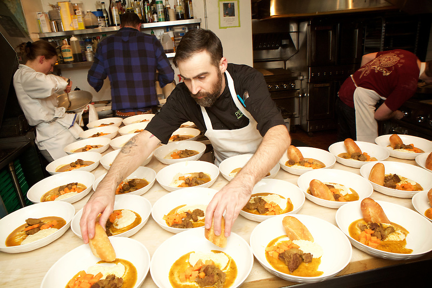 New York, NY - JANUARY 16, 2016:  Chef Ryan Hughes and the team from Purloo in the kitchen at the James Beard House.<br /> <br /> CREDIT: Clay Williams for the James Beard House.<br /> <br /> &copy; Clay Williams / claywilliamsphoto.com