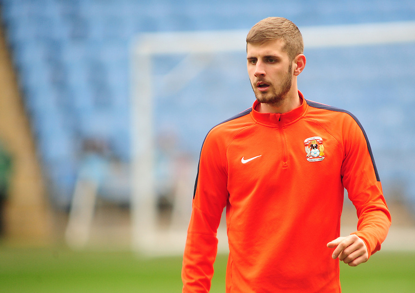 Coventry City's Jack Stephens during the pre-match warm-up <br /> <br /> Photographer Andrew Vaughan/CameraSport<br /> <br /> Football - The Football League Sky Bet League One - Coventry City v Fleetwood Town - Saturday 27th February 2016 - Ricoh Stadium - Coventry   <br /> <br /> &copy; CameraSport - 43 Linden Ave. Countesthorpe. Leicester. England. LE8 5PG - Tel: +44 (0) 116 277 4147 - admin@camerasport.com - www.camerasport.com
