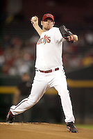 Brandon Webb / Arizona Diamondbacks pitching against the Cincinnati Reds at Chase Field, Phoenix, AZ on the night that he won his 20th game of the season - 09/12/2008..Photo by:  Bill Mitchell/Four Seam Images