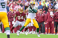 Landover, MD - September 23, 2018: Green Bay Packers tight end Jimmy Graham (80) catches a pass for a first down during game between the Green Bay Packers and the Washington Redskins at FedEx Field in Landover, MD. The Redskins get the win 31-17 over the visiting Packers. (Photo by Phillip Peters/Media Images International)