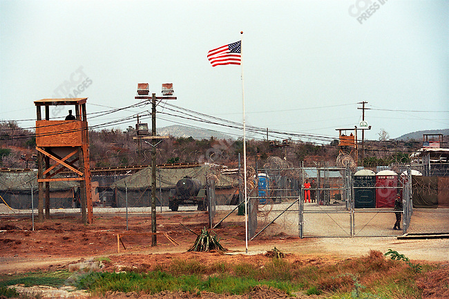"Camp X-ray, US Millitary Prison for Taliban, al-Qaeda and other prisoners from the ""War on Terror"". Guantanamo Bay, Cuba, March 2002"