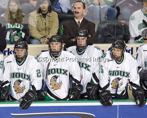 Matt Watkins, TJ Oshie, Cary Eades, Drew Stafford, Travis Zajac - The University of Minnesota Golden Gophers defeated the University of North Dakota Fighting Sioux 4-3 on Friday, December 9, 2005, at Ralph Engelstad Arena in Grand Forks, North Dakota.