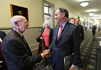 NWA Arkansas Democrat-Gazette/DAVID GOTTSCHALK University of Arkansas Chancellor Joe Steinmetz (left) visits with Congressman French Hill before Hill speaks to administrators, faculty and students Monday, November 26, 2019, at Giffelss Auditorium inside Old Main on the campus of the University of Arkansas in Fayetteville. Hill was recently named the ranking member of the House Financial Services Committee on International Development, National Security and Monetary Policy.