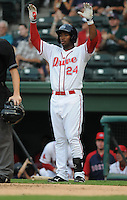 Outfielder Brandon Jacobs (24) of the Greenville Drive, Class A affiliate of the Boston Red Sox, in a game against the Lexington Legends on August 5, 2011, at Fluor Field at the West End in Greenville, South Carolina. (Tom Priddy/Four Seam Images)