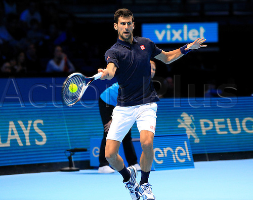 13.11.2016. The O2, London, England. ATP Tour Tennis Finals. Day One. Novak Djokovic (SRB) returns to Dominic Thien (AUT) as he wins by a score 6-7, 6-0, 6-2 during Day 1 at Barclays ATP World Tour Finals from the O2 Arena