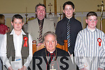 Pupils of Ballincrossig NS after they were confirmed at St. John's Church, Causeway, on Thursday afternoon. Pictured with Bishop Bill Murphy are principal Patrick O'Sullivan, JP Barrett, Tadhg Brosnan and Robert McGrath.   Copyright Kerry's Eye 2008
