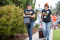 Lupe Salmeron and Teresa Williams from Oxy's business office help move in the class of 2021. Incoming first-years and their families are welcomed by O-Team members and the community at the start of Occidental College's Fall Orientation for the class of 2021, Aug. 24, 2017.<br /> (Photo by Marc Campos, Occidental College Photographer)