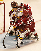 Dominic Toninato (UMD - 19), Wiley Sherman (Harvard - 25) - The University of Minnesota Duluth Bulldogs defeated the Harvard University Crimson 2-1 in their Frozen Four semi-final on April 6, 2017, at the United Center in Chicago, Illinois.
